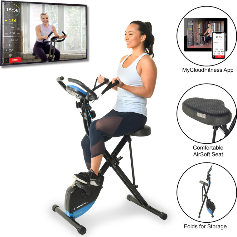 EXERPEUTIC Bluetooth Folding Upright Bike with Adjustable Resistance Bands and MyCloudFitness App