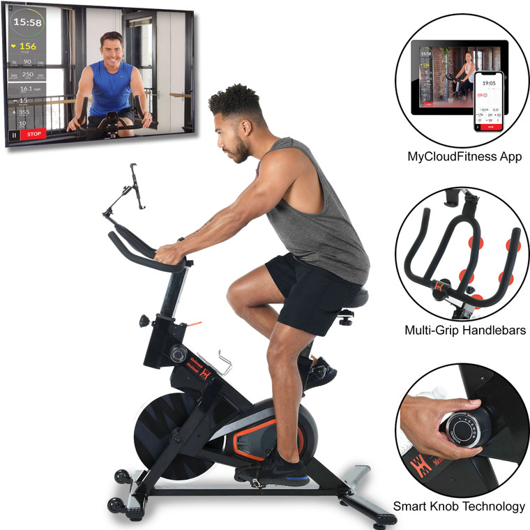 Women's Health Men's Health Eclipse Bluetooth Indoor Cycling Bike with MyCloudFitness App and  Chest Belt