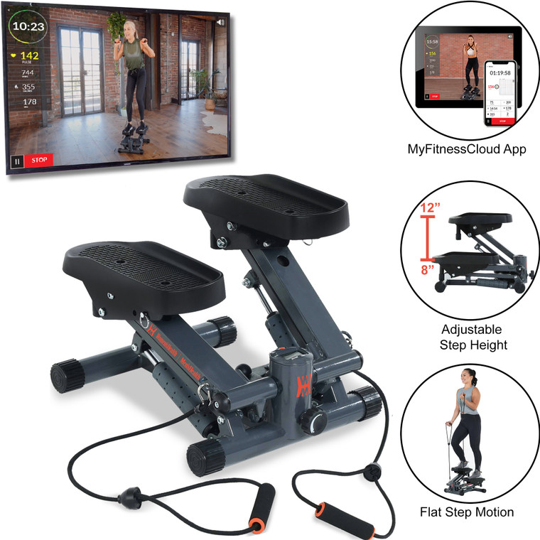 Women's Health Men's Health Cardio Stair Stepper with Adjustable Resistance Bands and MyCloudFitness App and Chest Belt