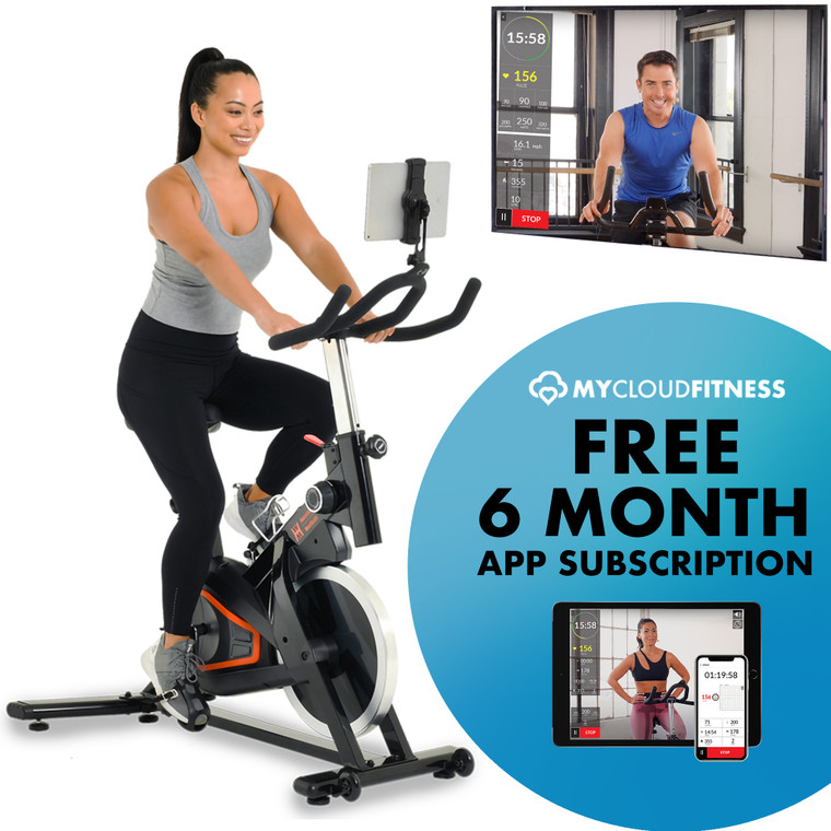 Women's Health Men's Health Eclipse Bluetooth Indoor Cycling Bike with 6 Month Subscription of the MyCloudFitness App