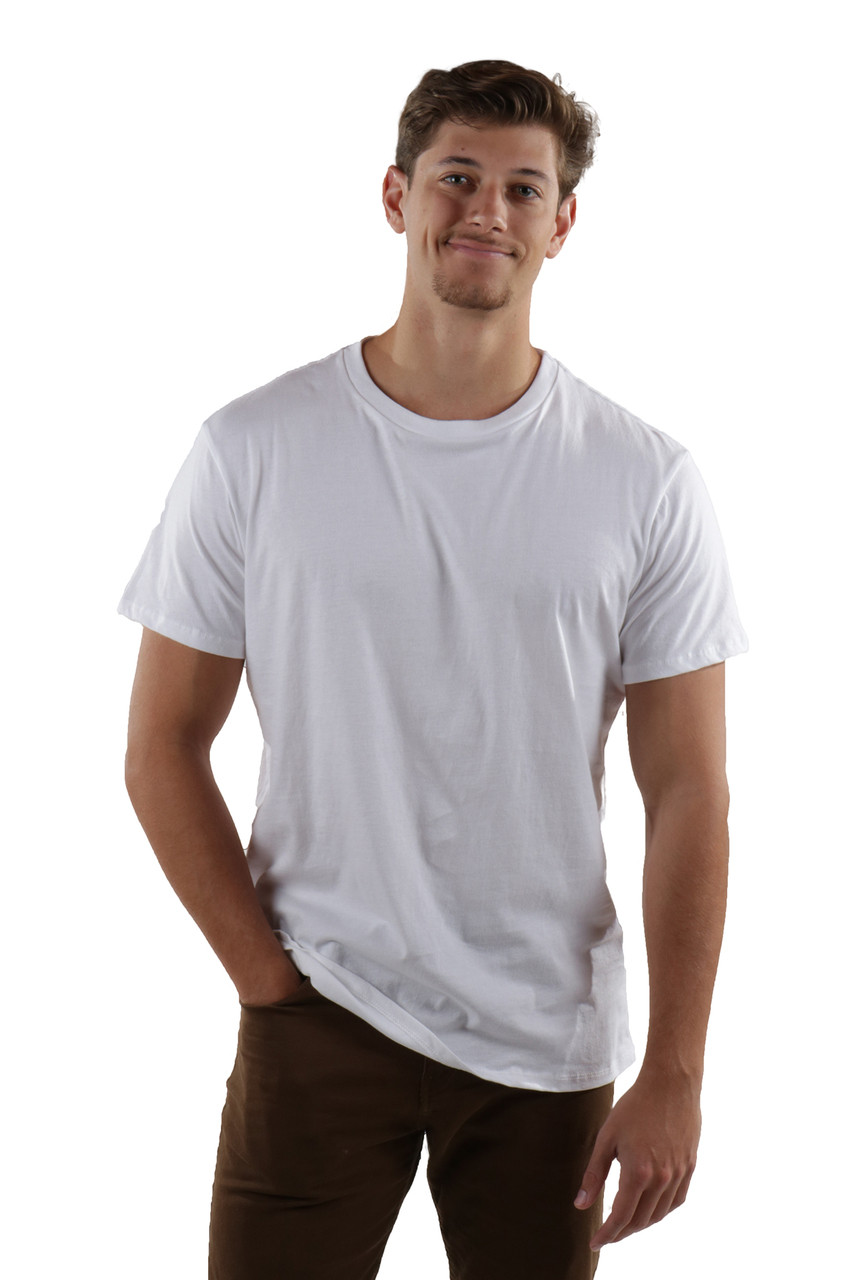 5699737c3aa2 Mens Quality T-shirt - Crew Neck - White - Back. Add to Cart