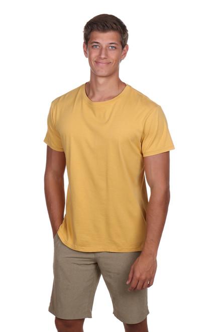 Men's yellow t-shirt - crew neck froview
