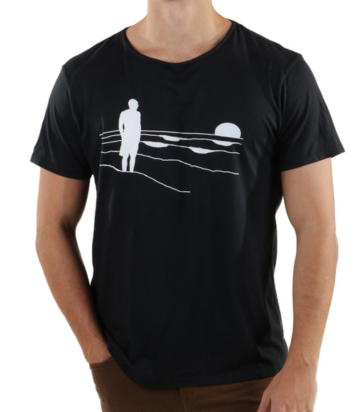 Mens Wideneck T-shirt with beach graphics