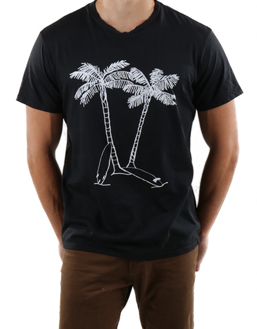 Mens Crewneck T-shirt with Palm Trees