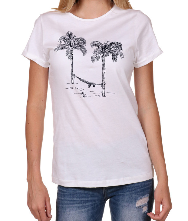 High Quality - womens-t-shirts - Hammock- seashell -front