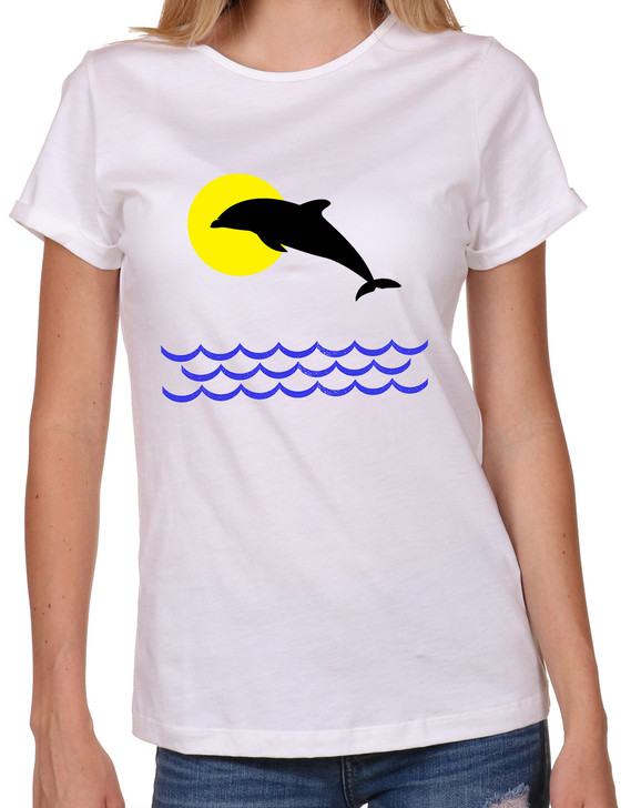 Womens-T-shirt-Dolphin-jumping
