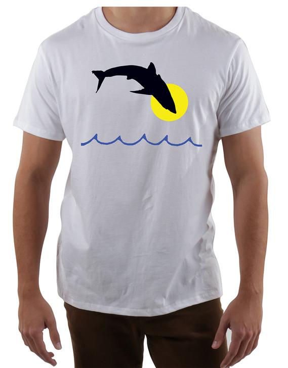 Mens-Crew-Neck-T-Shirt-Shark-Play