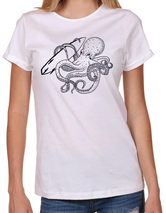 Women's T-shirt, Octopus, Surf Board