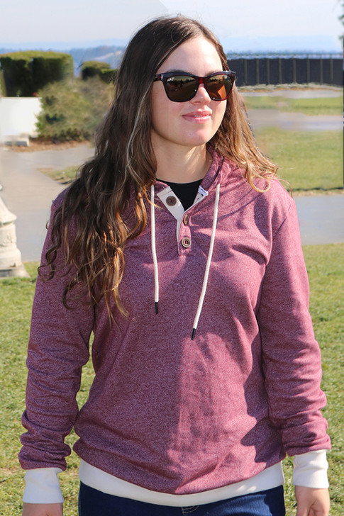 Wave Crest Pullover Hoodie   Red