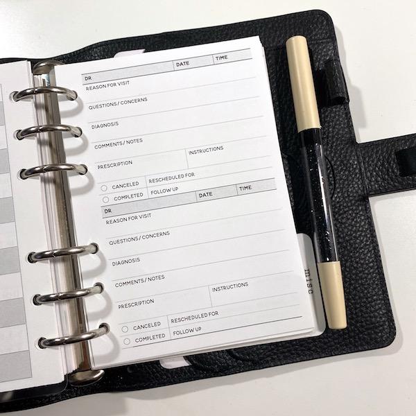 Doctor visit log free printable inserts