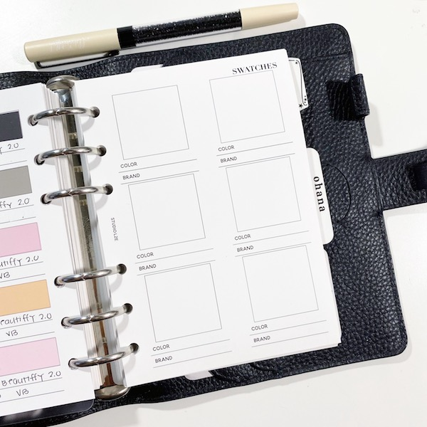 Free planner insert printable for square swatches