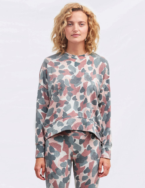 SUNDRY ABSTRACT CAMO OVERSIZED SWEATSHIRT