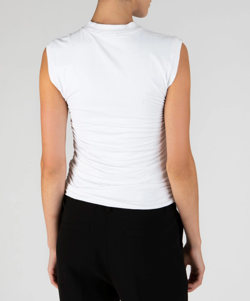 ATM PIMA COTTON RUCHED SLEEVELESS TOP