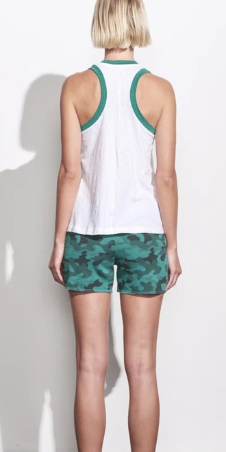 SUNDRY COLORBLOCK RINGER TANK WHITE/EMERALD