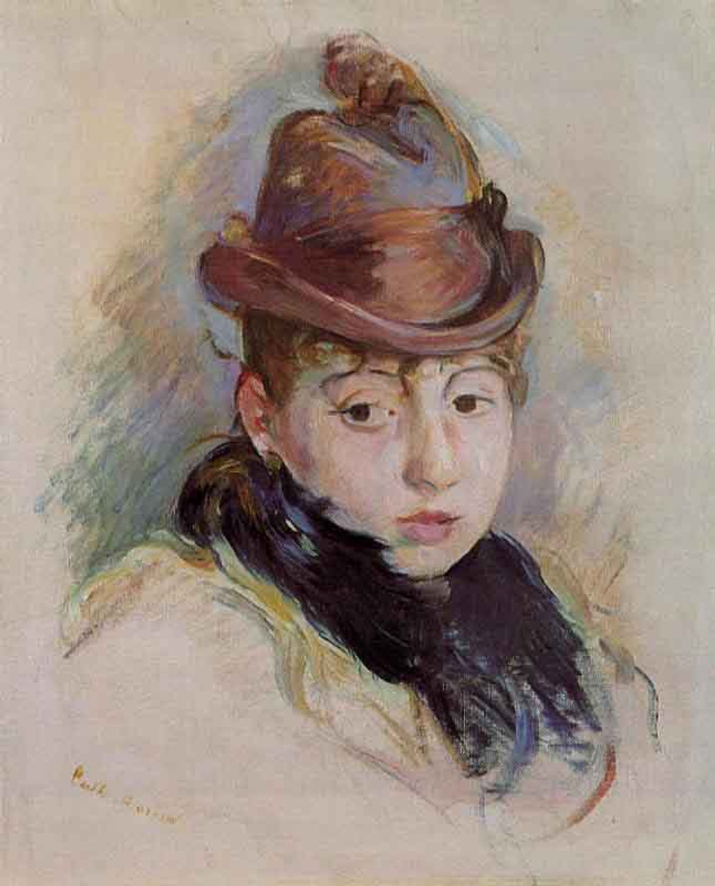 Young Woman In A Hat By Berthe Morisot Reproduction