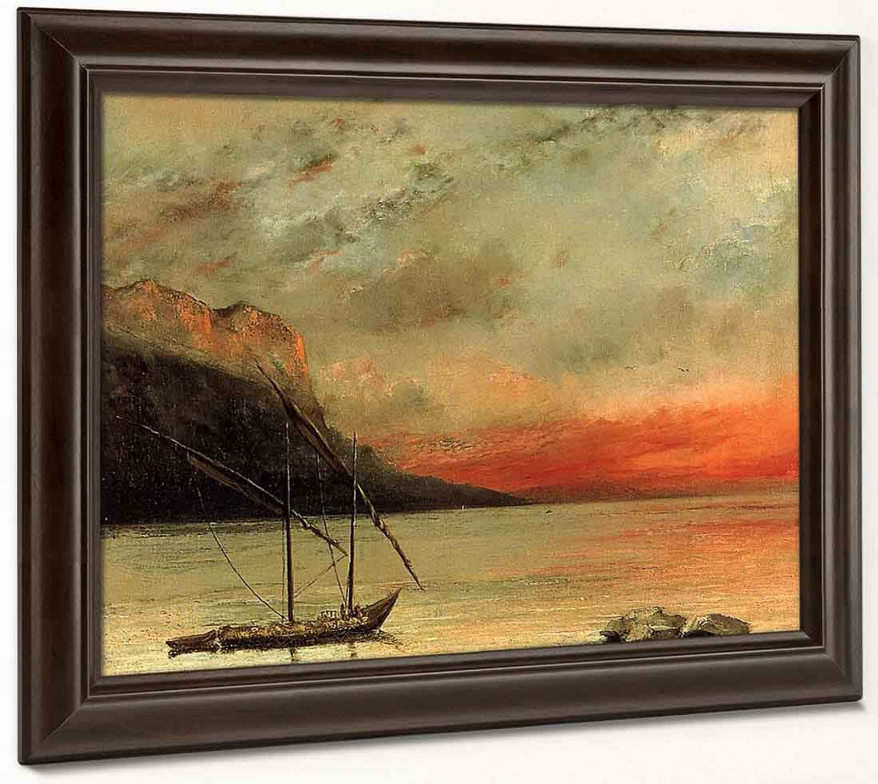 Sunset On Lake Leman Gustave Courbet Repro Oil Painting On Canvas Free Shipping Painting & Calligraphy Home Decor