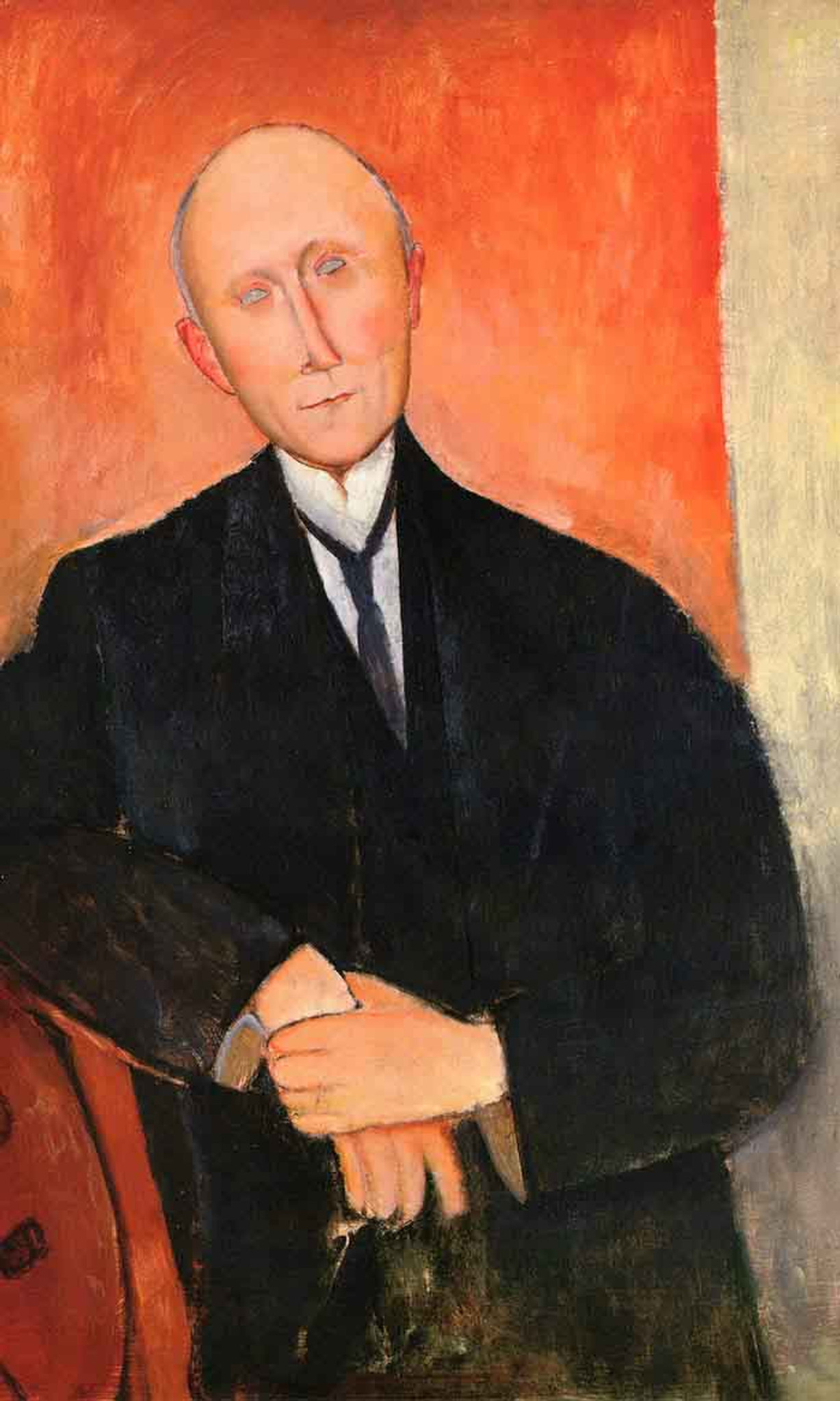 Seated Man With Orange Background By Amedeo Modigliani Print or Painting  Reproduction