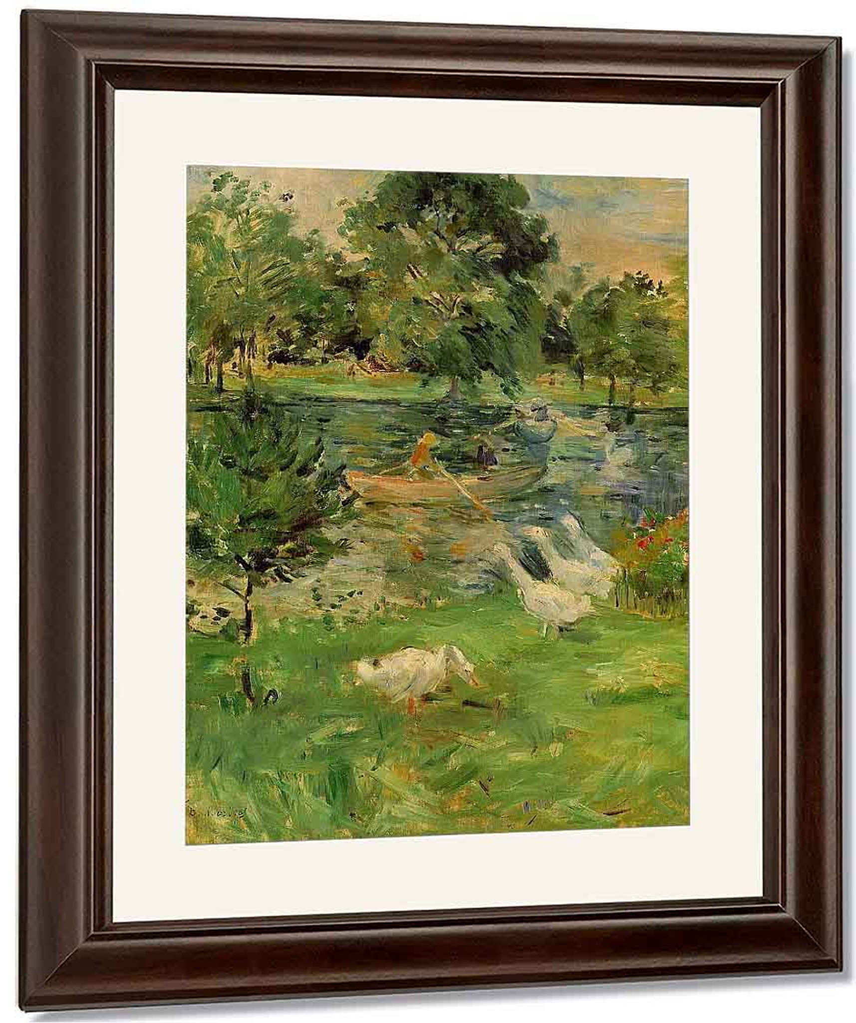 Girls in a boat with geese by Berthe Morisot Giclee Reproduction on Canvas