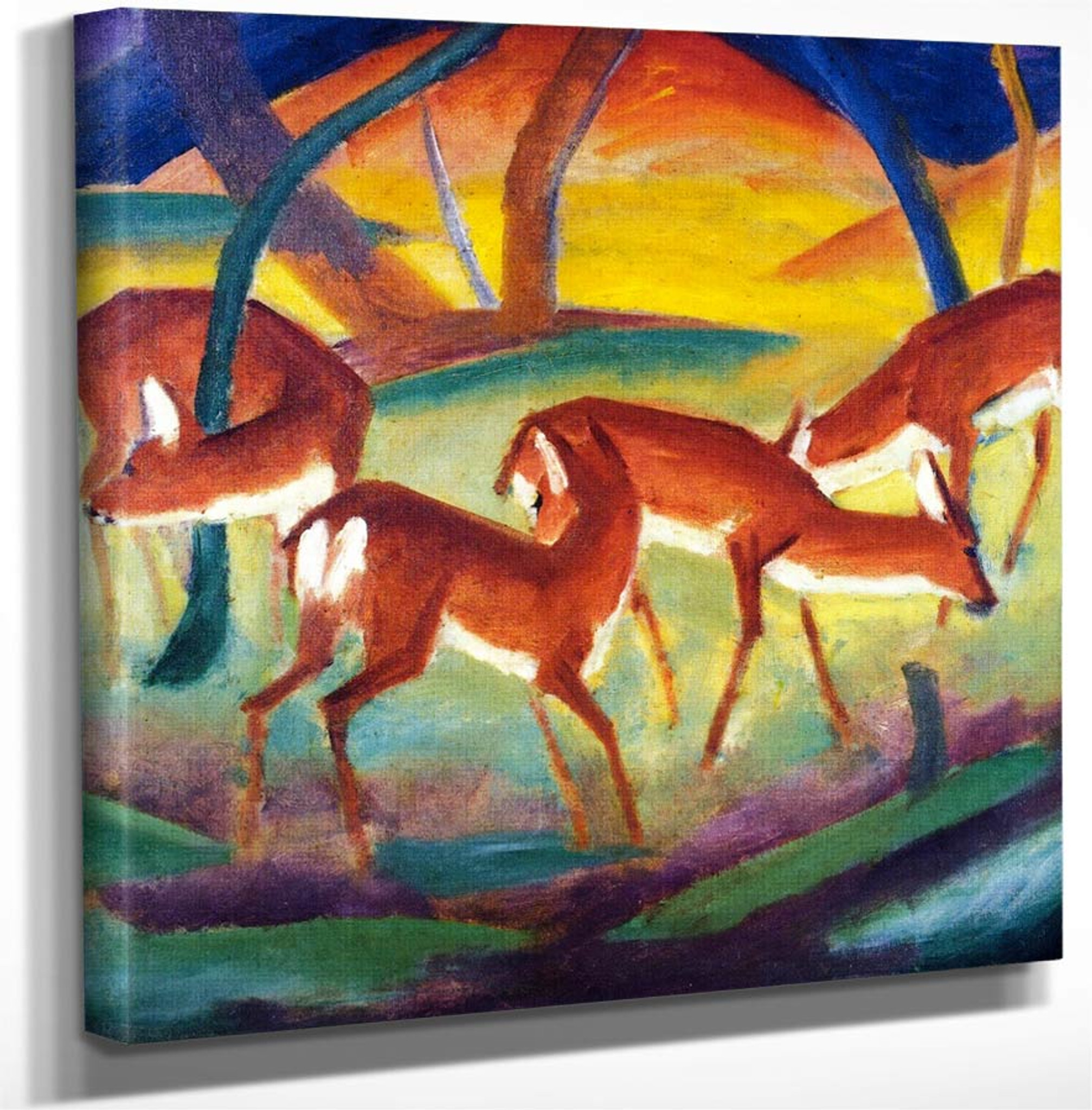 Deer in the Snow II  by Franz Marc   Giclee Canvas Print Repro