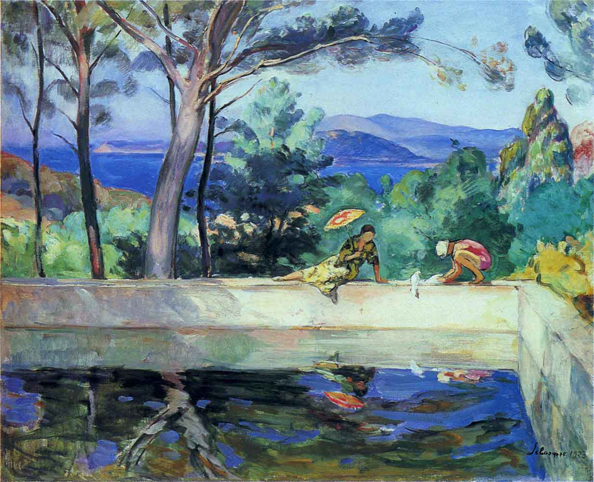 Blue Reflection In The Fountain At Pradet By Henri Lebasque Print ...