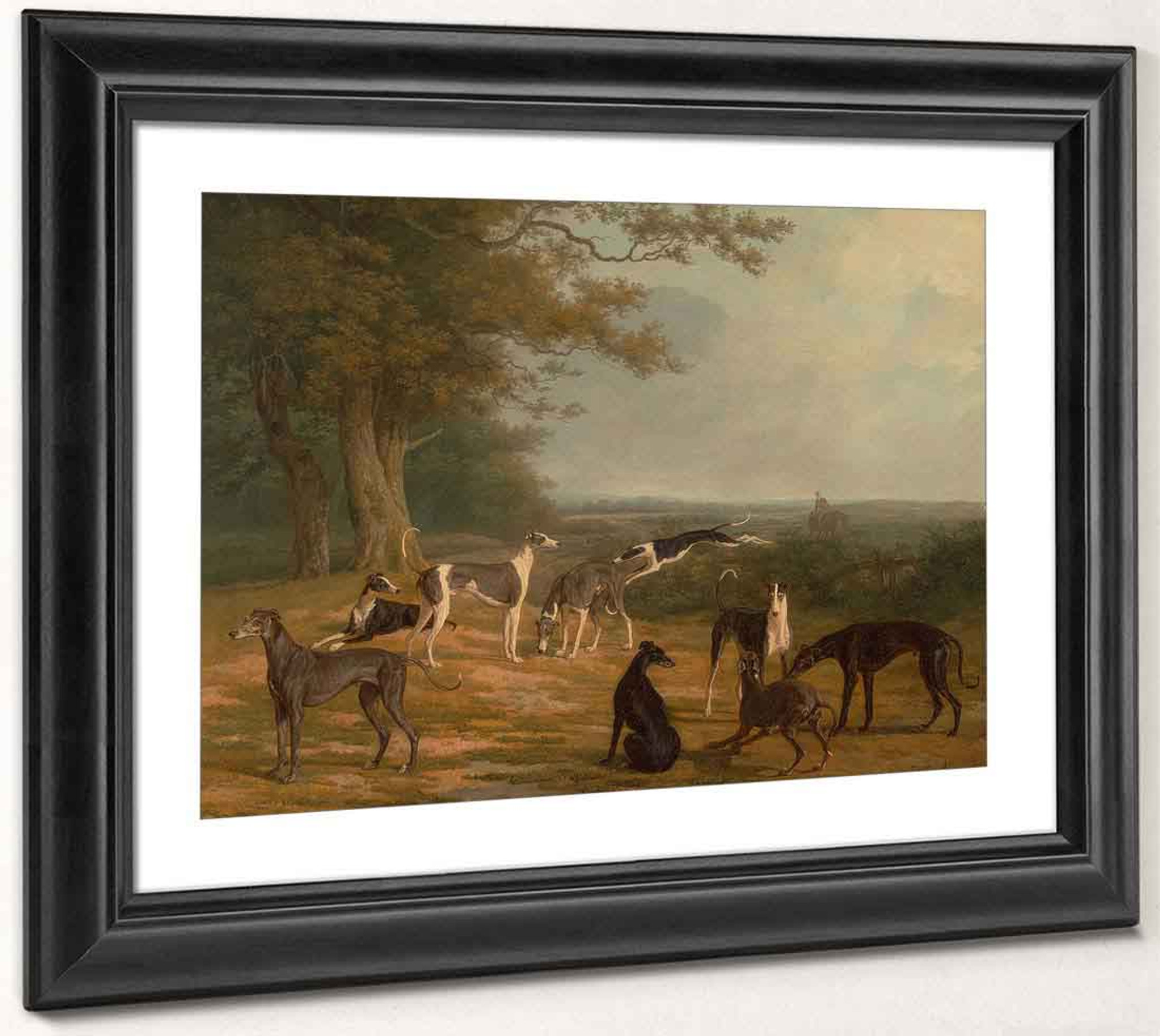 """Dogs Nine Greyhounds in a Landscape Jacques-Laurent Agasse 14/""""x11/"""" Art Print"""