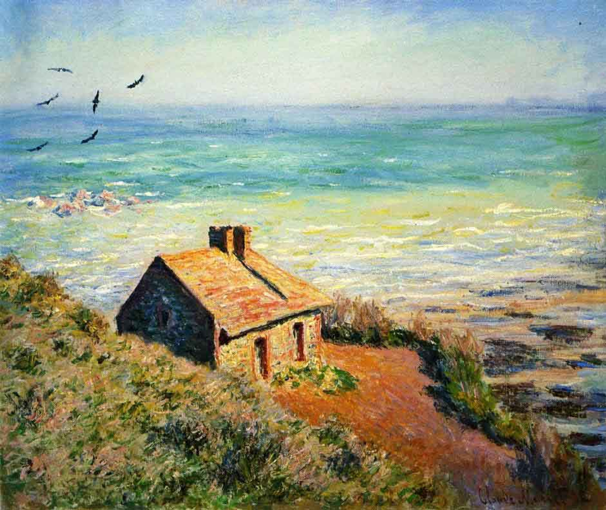 The Customs House, Morning Effect By Claude Oscar Monet Print or Painting  Reproduction from Cutler Miles.