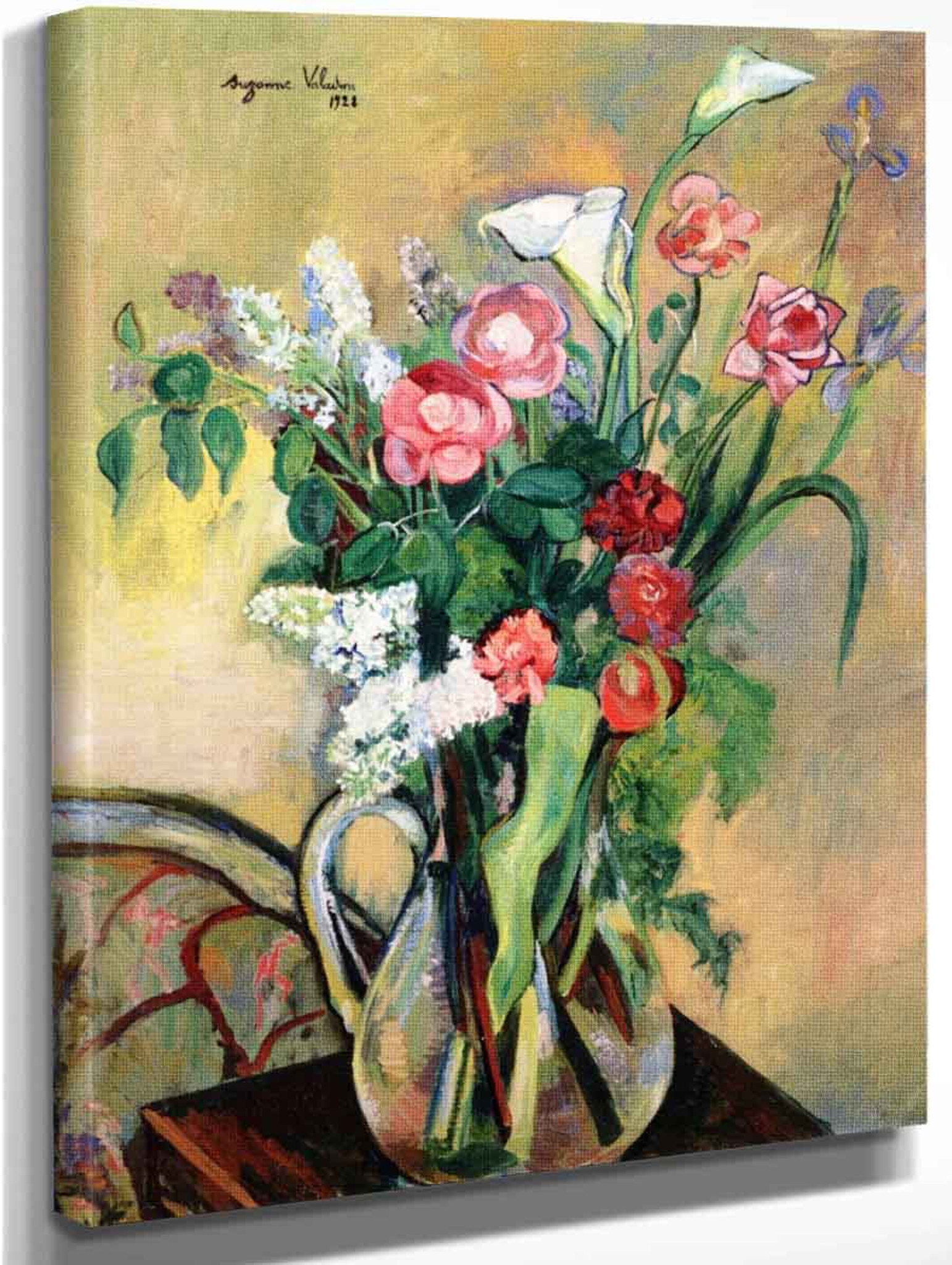 Flowers Roses Painting by Painter Suzanne Valadon 16X20 Fine Art Poster FREE SH