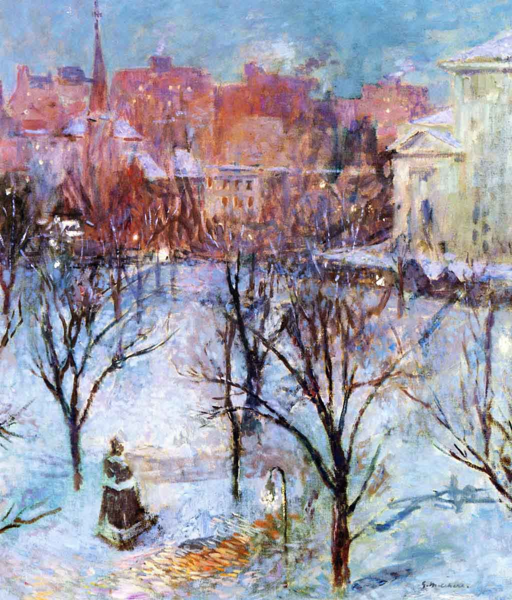 Bryant Park By Gari Melchers Reproduction From Cutler Miles