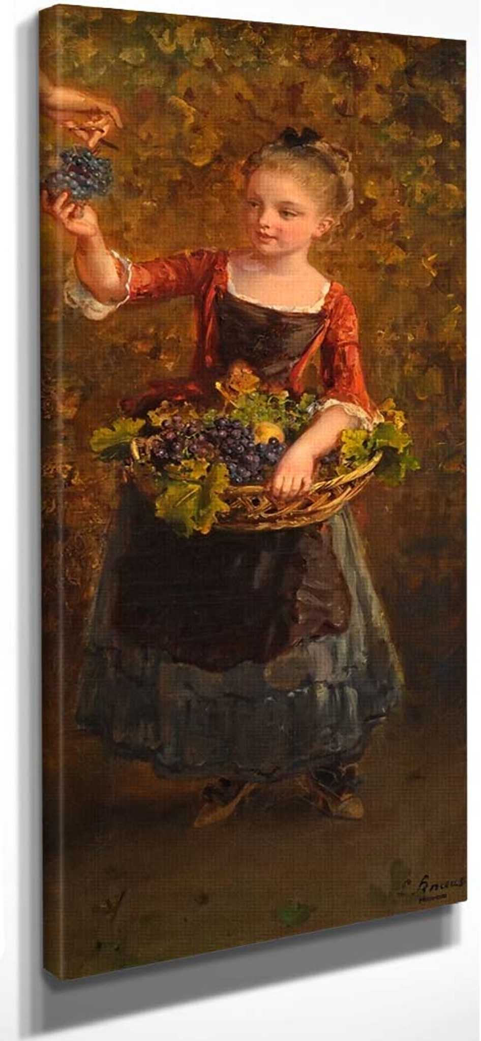 Girl in a Field Ludwig Knaus painting CANVAS art PRINT