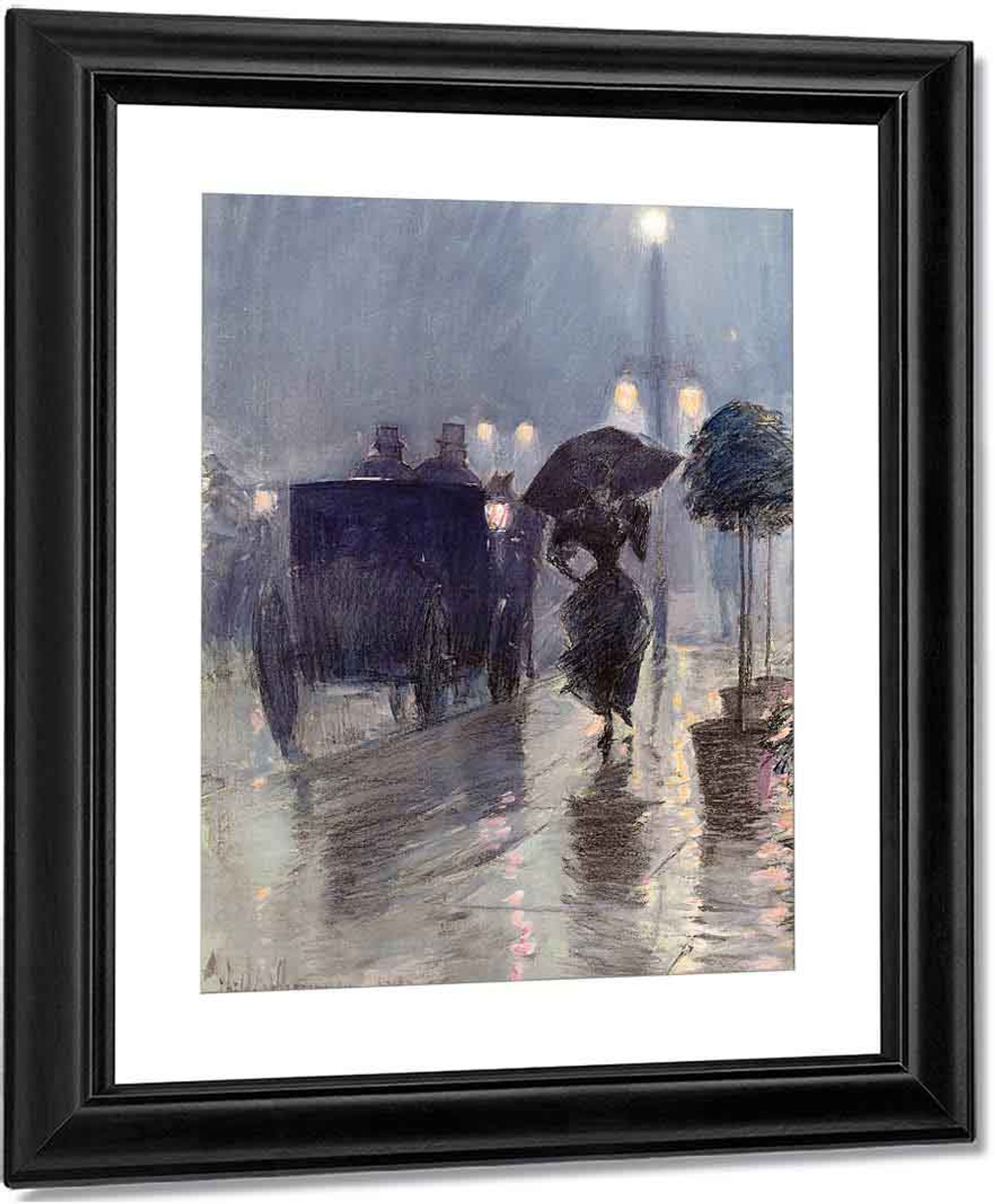 Street in the rain by Childe Hassam Giclee Fine ArtPrint Reproduction on Canvas