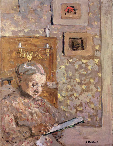 Madame Vuillard With Wallpaper By Edouard Vuillard