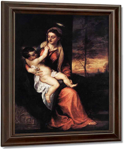 Madonna And Child In An Evening Landscape By Titian