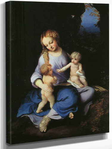 Madonna And Child With The Young Saint John By Correggio By Correggio