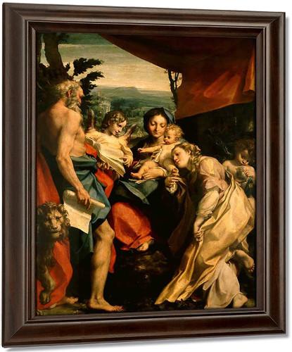 Madonna With St. Jerome By Correggio By Correggio
