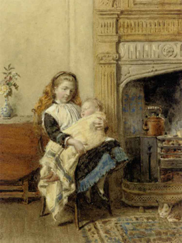 Minding Baby By George Goodwin Kilburne By George Goodwin Kilburne