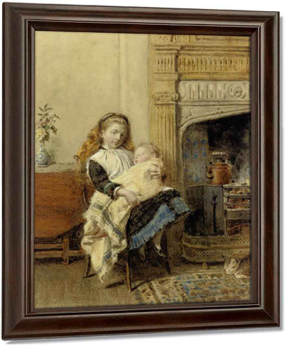 Minding Baby By George Goodwin Kilburne Oil on Canvas Reproduction