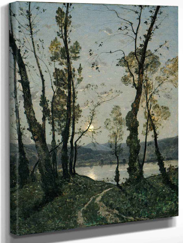 Moonlight By Henri Joseph Harpignies, Aka Henri Harpignies