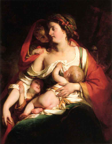 Mother And Children By Friedrich Von Amerling By Friedrich Von Amerling