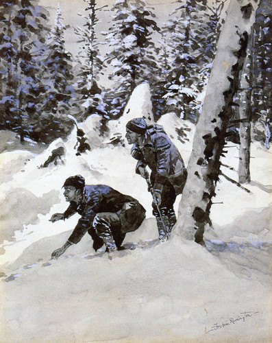 On The Caribou Tracks By Frederic Remington
