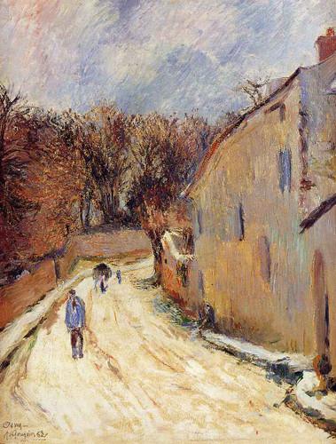Osny, Rue De Pontoise, Winter By Paul Gauguin