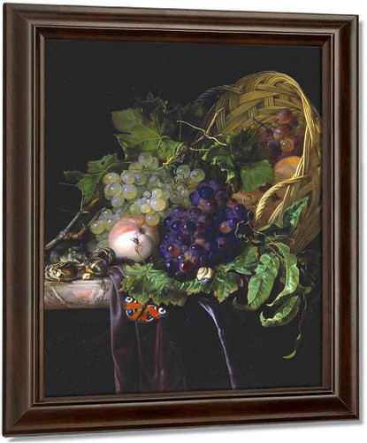 Peaches, Chestnuts And Grapes In An Overturned Basket By Willem Van Aelst By Willem Van Aelst