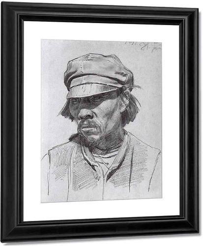Portrait Of A Kalmyk. By Ilia Efimovich Repin