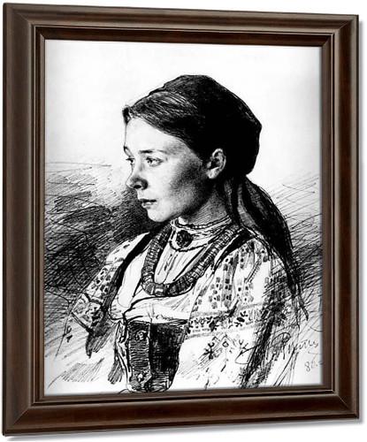 Portrait Of Maria Artsybasheva. By Ilia Efimovich Repin