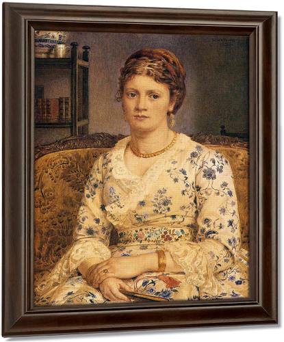 Portrait Of Mrs J.P.Heselitine By Sir Edward John Poynter Oil on Canvas Reproduction