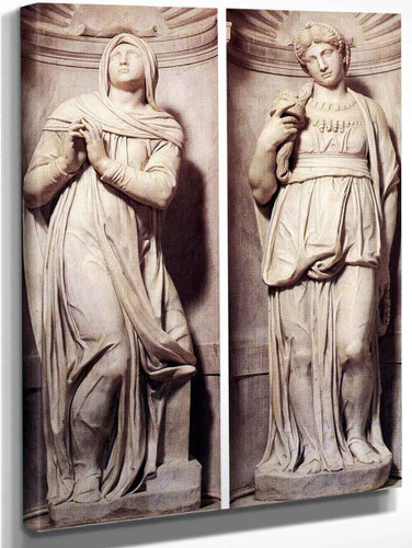 Rachel And Leah By Michelangelo Buonarroti By Michelangelo Buonarroti