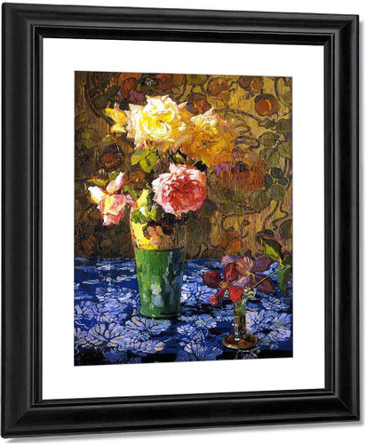 Roses In A Atall Glass2 By Franz Bischoff By Franz Bischoff