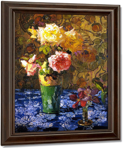 Roses In A Atall Glass2 By Franz Bischoff