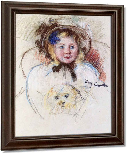 Sara In A Round Brimed Bonnet, Holding Her Dog By Mary Cassatt