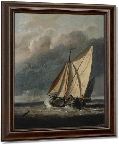 Seascape A Yacht Sailing Under A Rainy Sky By Willem Van De Velde The Younger