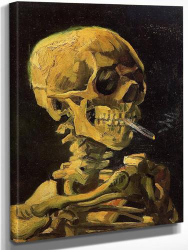 Skull With Burning Cigarette By Jose Maria Velasco